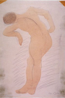 Male Nude Leaning Left, Rear View - non authentic