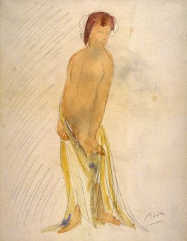 Female Nude Holding Yellow Drapery Below Waist (Copy)