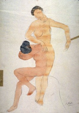 Two Female Nudes (Copy after Rodin)