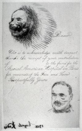 Le Blesse de la Face (Contribution Receipt of the Special American Hospital in Paris for Wounds of the Face and Jaw)