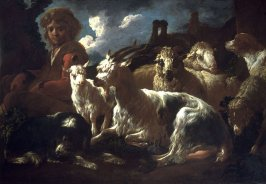 Shepherd Boy with Sheep and Goats
