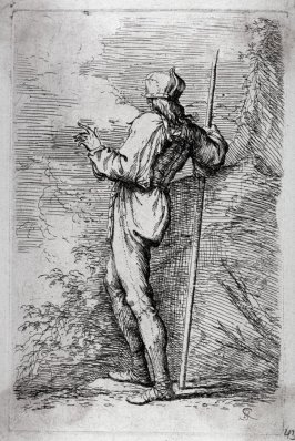 Soldier Standing, Holding a Long Cane Before a Rocky Wall, from the series Figurine