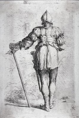 Soldier Standing, Seen from Behind, in a Helmet, Holding a Cane, from the series Figurine