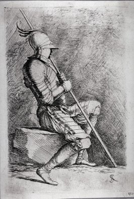 Soldier Seated, in a Helmet, Holding a Cane, from the series Figurine