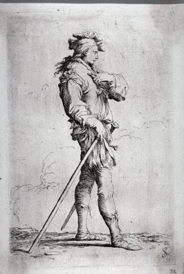 Soldier in Profile with Sword and Cane, Facing Right, from the series Figurine
