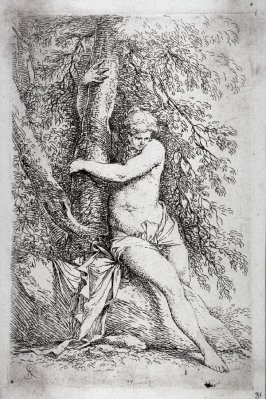Nude, Seated, Holding onto a Tree, from the series Figurine