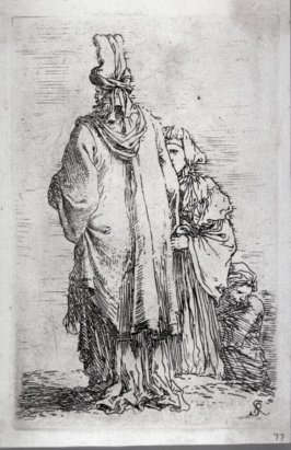 Oriental Figure in Turban, Seen fom Behind, with Two Women, from the series Figurine