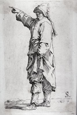 Man Standing, with Arm Raised, Pointing Toward Left, from the series Figurine