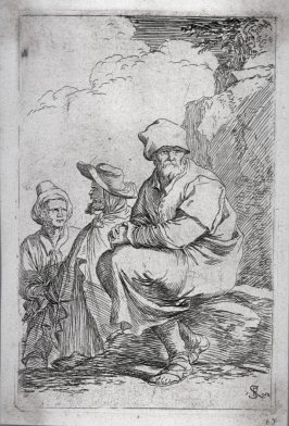 Seated Peasant with Two Other Men, from the series Figurine