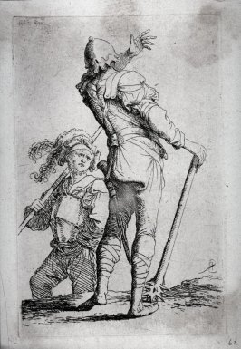 Two Soldiers, One Seen from Behind, Holding a Club, from the series Figurine