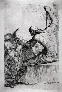 Three Soldiers, One Seated and Supporting Himself with a Cane and a Shield, from the series Figurine