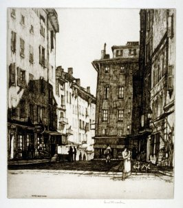 Untitled (European street scene, woman holding child in her arms in right foreground)