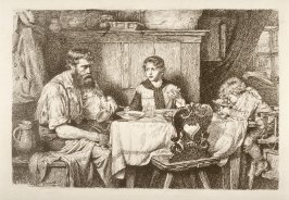 Bavarian Peasant Family at Evening Supper
