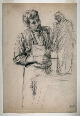 Recto: Sculptor Working;Verso: Sketches of artist, statue, model