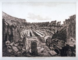 Interno del Colosseo scavato nel 1813, e ricoperto nel 1814 (View of the interior of the Colosseum excavated in 1813 and recovered in 1814)