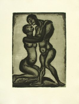 """Les Amants,"" illustration 9, in suite #1, for the book Réincarnations du Père Ubu (Paris: Ambroise Vollard, 1932)"