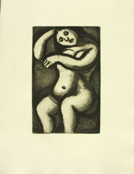 """Femme nue, assise,"" illustration 10, in suite #1, for the book Réincarnations du Père Ubu (Paris: Ambroise Vollard, 1932)"