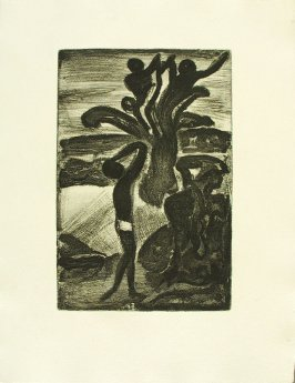 """Paysage du palmier,"" illustration 20, in suite #1, for the book Réincarnations du Père Ubu (Paris: Ambroise Vollard, 1932)"