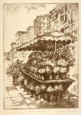 Eleven etchings of local scenes in San Francisco: Flower Stand