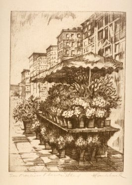 Eleven etchings of local scenes in San Francisco: San Francisco Flower Stand