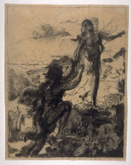 Two Nymphs (study for a lithograph)