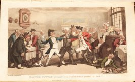 Doctor Syntax Present at a Coffee-house Quarrel at Bath, plate opposite page 180 in the book The Second Tour of Dr. Syntax, In Search of Consolation [by William Combe] (London:R. Ackermann, 1820), vol. 2 (of 3)