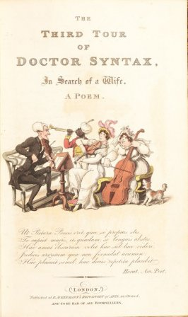 Dr. Syntax Assisting at an Instrumental Trio, title page vignette in the book 'The Third Tour of Dr. Syntax, In Search of a Wife' (London: R. Ackermann, [1821]), vol. 3 (of 3)
