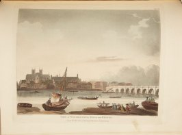 View of Westminster Hall and Bridge, plate 39 in the book, Microcosm of London (London: R. Ackermann, [1809]), vol. 3