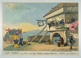 The Times, or a view of the Old House in Little Brittain with nobody going to Hannover...