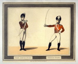 Half Circle Guard; Medium Guard, illustration to Angelo's 'Hungarian and Highland Broadsword Exercise'