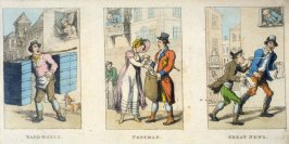 Band-Boxes; Postman; Great News, illustrations to the series 'Characteristic Sketches of the Lower Orders'