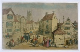 Street Scene, Glastonbury, Somersetshire, illustration to 'The World in Miniature'