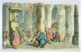 Villagers in Church, illustration to 'The World in Miniature'