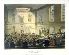 Plate 45: India House: The Sale Room, illustration to 'The Microcosm of London'