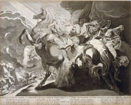 Itaque Fuit Nocte Eadem, Angelus Iehovae...( The Angel Smiting the Camp of the Assyrians), 2nd Kings19:35, after a composition by Peter Paul Rubens from a group of Biblical illustrations printed by C.J. Visscher