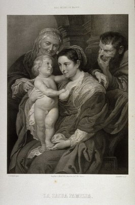 Sacra Familia. La Virgen Con Jesus Nino, S. Jose Y Sta. Ana. (Mary with the baby Jesus, St. Joseph and St. Anne)...twenty second plate in the book....El Real Museo de Madrid y las joyas de la pintura en Espana ([Madrid]: Juan José Martinez, [1857])