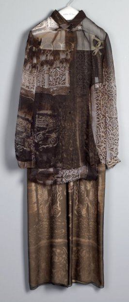 Woman's evening pajama (pant, shirt, shawl)