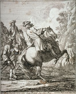 One of a set of six plates: The military operations of the French and Bavarian armies at the siege of Augsburg, 1698
