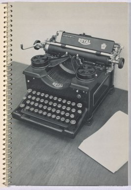 """Royal (Model """"X"""") Typewriter, in the book Royal Road Test by Edward Ruscha in collaboration with Mason Williams and Patrick Blackwell (Los Angeles: self published, 1967 [third ed. 1971])"""