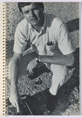 """""""Mason Williams, Thrower,"""" in the book Royal Road Test by Edward Ruscha in collaboration with Mason Williams and Patrick Blackwell (Los Angeles: self published, 1967 [third ed. 1971])"""