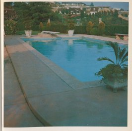 First image in the book Nine Swimming Pools and a Broken Glass by Edward Ruscha (Los Angeles: Self published, 1968)