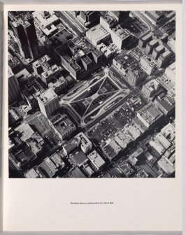 """Pershing Square underground lot, 5th & Hill,"" in the book Thirtyfour Parking Lots in Los Angeles by Edward Ruscha (Los Angeles: self published, 1967)"