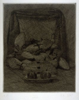 Seven Views of the Sacred Grove (pomegranates on a plate, basket upsdie down, pile of shoe lasts, black drapery)