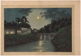 Full Moon at Suidobashi from an untitled series of western-style views of Tokyo