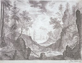 Wooded Landscape with a Waterfall, from set of Six Mountain Landscapes in Tyrol
