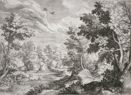 River Landscape with two oarsmen and two flying ducks