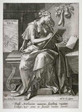 Arithmetic, from series of five female figures personifying Arts and Sciences