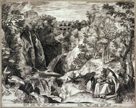 Saint Narcissus, Patriarch of Jerusalem, in a Landscape