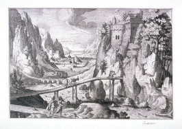 Landscape with castle, bridges over river, figures