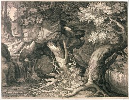 The Miners on the Mountain (Wood Landscape with a Waterfall), from Set of Six Landscapes